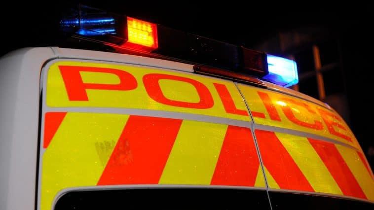 Lights on a police van