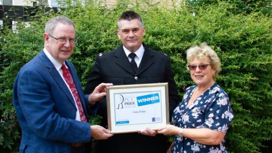Image shows Ian Gilchrist, PC Martyn Bridges and Helen Peter