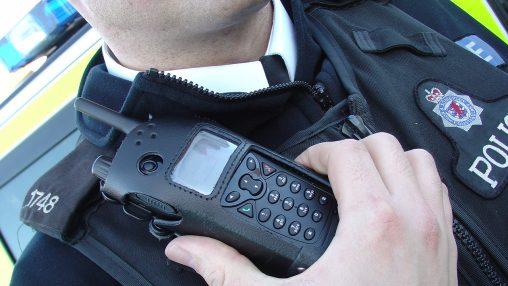 Radio on police uniform