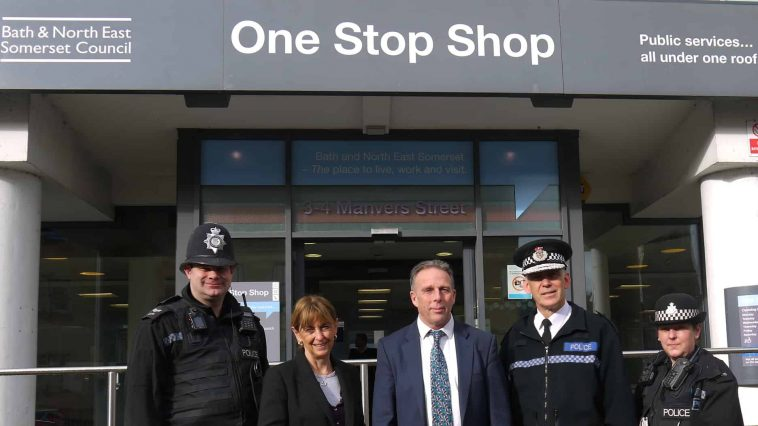 Police, Police and Crime Commissioner and council representatives outside the One Stop Shop