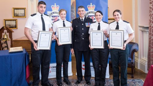 PC Clare Davies, PC Emma Sipson, PC Ben Schofield and PC Yasmin Kingdon recieving the Chief Constable Commendation Award from CC Andy Marsh QPM
