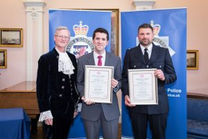 PC Si Hutton, Inspector Kurt Swallow recieving the Royal Humane Award from High Sheriff of Bristol, Charles Wyld.