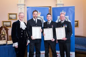 PC Julian Cornwell, PC Luke Moffatt and PC Matthew Shutt receiving the Royal Humane Award from High Sheriff of Bristol, Charles Wyld_smaller