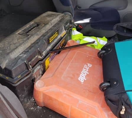 Officers found multiple power tools inside the car