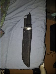 The hunting knife Ahmad used during the robberies