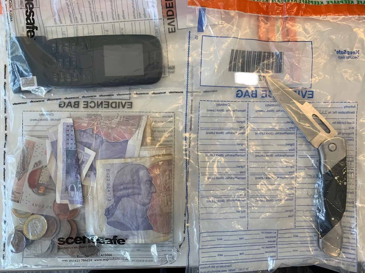 Knife and drugs paraphernalia seized following arrest in Yeovil