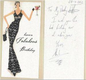 A birthday card Acklom sent Carolyn Woods