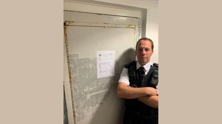 PC Steve Linton outside the closed flat