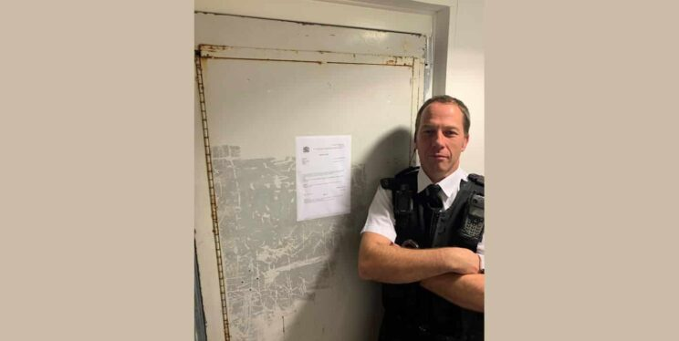 PC Steve Linton outside the closed flat