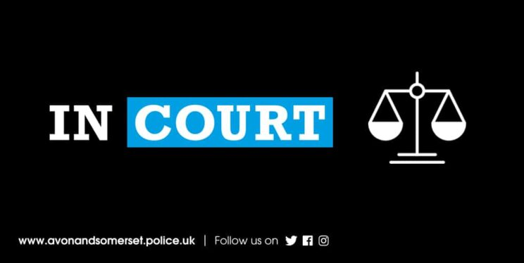 Scales of justice icon and the words 'in court'