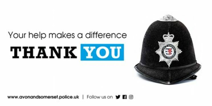 Image of police helmet and text saying thank you