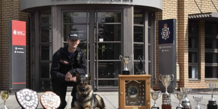 PC Nick Darymple with PD Ash and their trophies