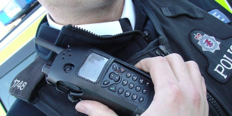 Radio on police uniform