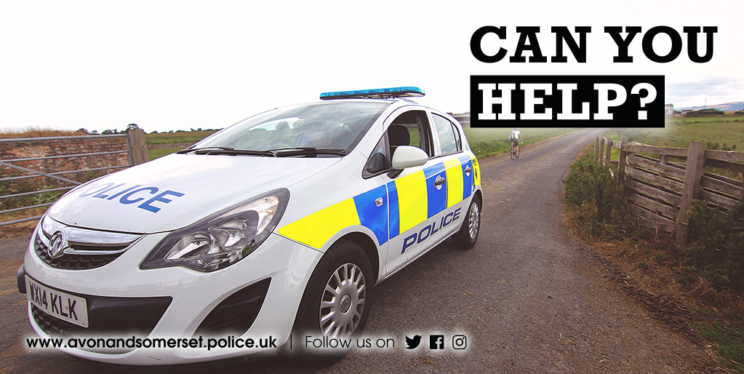 Marked police car and the words 'can you help'