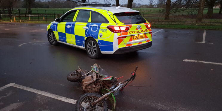 Police car with seized mini moto bike