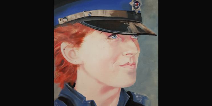 A portrait of PCSO Zoe Knowles by PCSO Mark Trueman
