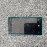 A blue Nokia smartphone