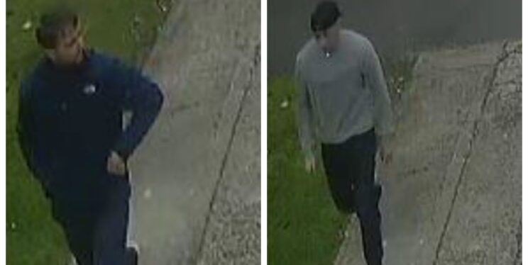 a split image of two cctv shots of two men