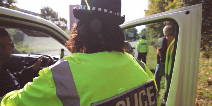 Back of officer on roadside