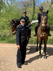 PH Worlebury and rider PC Helen Watkins receive official name from Chief Constable Andy March. Accompanied by Mounted Section Sergeant Ed Amor and PH Trinity