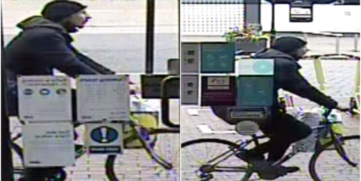 CCTV images of a man on a bicycle